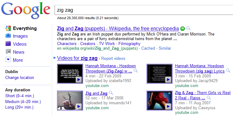 Google Search for Zig Zag