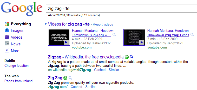 Google Search Zig Zag Not RTE