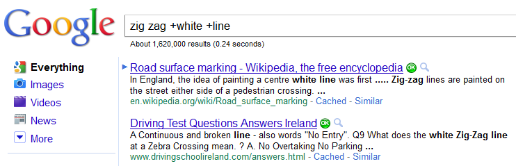 Google Search Zig Zag White Line