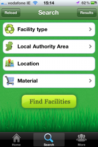 Searching for recycling facilities with the Recyclemore app