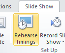 Rehearse Timings button