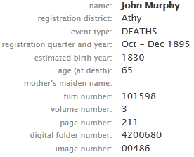 FamilySearch.org result showing GRO references