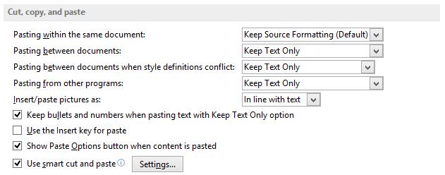 change default paste in word